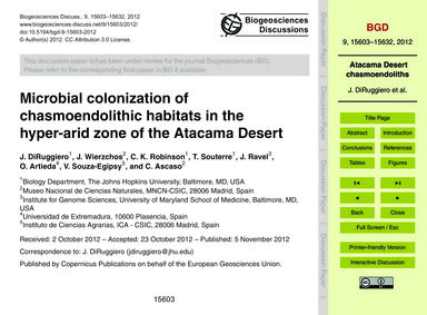 Microbial Colonization of Chasmoendolith... by Diruggiero, J.