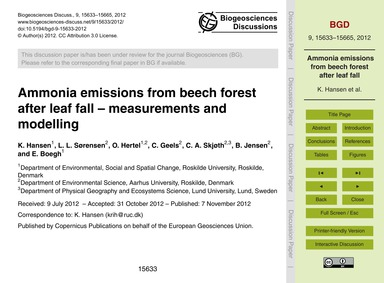 Ammonia Emissions from Beech Forest Afte... by Hansen, K.