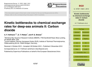 Kinetic Bottlenecks to Chemical Exchange... by Hofmann, A. F.