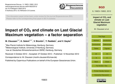 Impact of Co2 and Climate on Last Glacia... by Claussen, M.