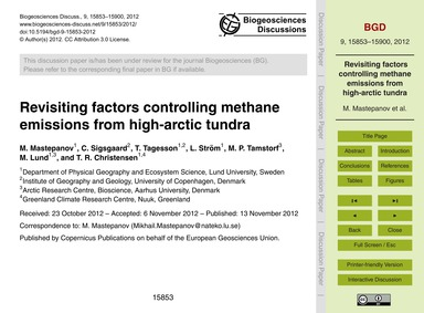 Revisiting Factors Controlling Methane E... by Mastepanov, M.