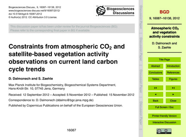 Constraints from Atmospheric Co2 and Sat... by Dalmonech, D.