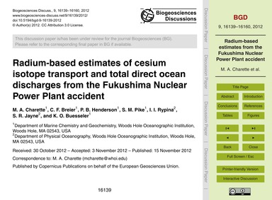 Radium-based Estimates of Cesium Isotope... by Charette, M. A.