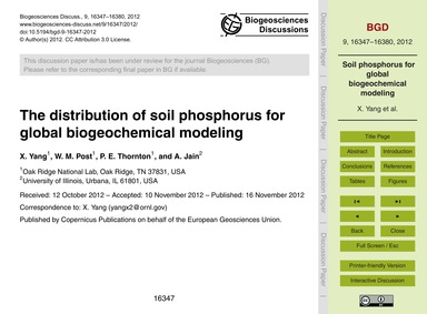 The Distribution of Soil Phosphorus for ... by Yang, X.