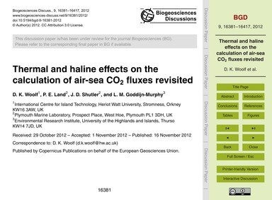 Thermal and Haline Effects on the Calcul... by Woolf, D. K.
