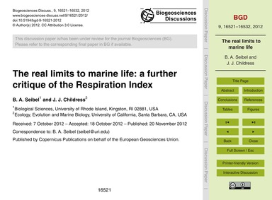The Real Limits to Marine Life: a Furthe... by Seibel, B. A.
