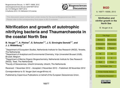 Nitrification and Growth of Autotrophic ... by Veuger, B.
