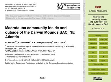 MacRofauna Community Inside and Outside ... by Serpetti, N.