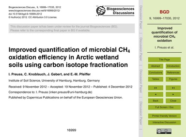 Improved Quantification of Microbial Ch4... by Preuss, I.