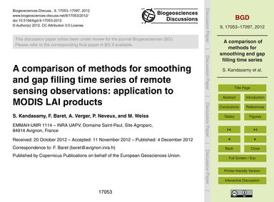 A Comparison of Methods for Smoothing an... by Kandasamy, S.