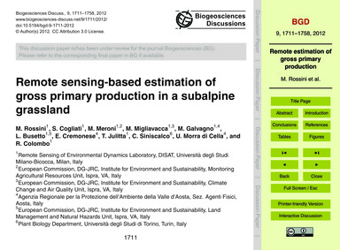 Remote Sensing-based Estimation of Gross... by Rossini, M.