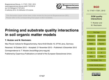 Priming and Substrate Quality Interactio... by Wutzler, T.