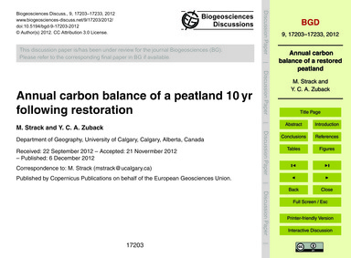 Annual Carbon Balance of a Peatland 10 Y... by Strack, M.