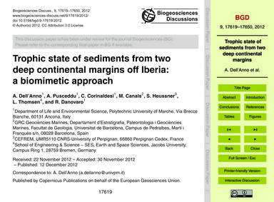 Trophic State of Sediments from Two Deep... by Dell'Anno, A.
