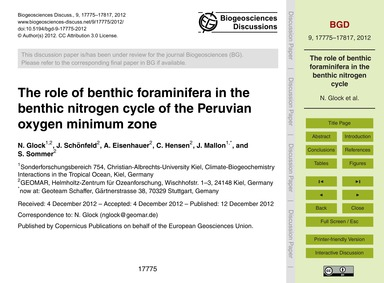 The Role of Benthic Foraminifera in the ... by Glock, N.