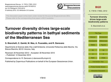 Turnover Diversity Drives Large-scale Bi... by Bianchelli, S.