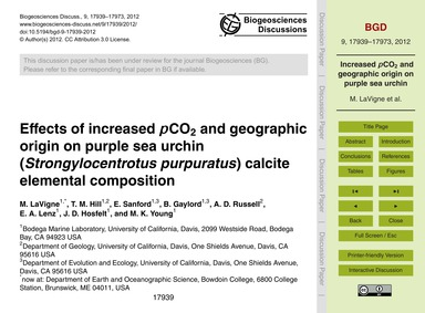 Effects of Increased PCo2 and Geographic... by Lavigne, M.