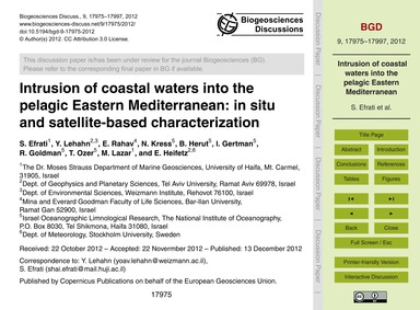 Intrusion of Coastal Waters Into the Pel... by Efrati, S.