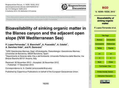Bioavailability of Sinking Organic Matte... by Lopez-fernandez, P.