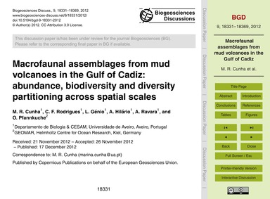 MacRofaunal Assemblages from Mud Volcano... by Cunha, M. R.