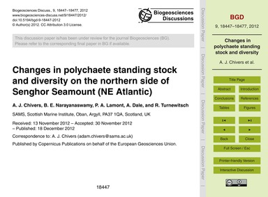 Changes in Polychaete Standing Stock and... by Chivers, A. J.