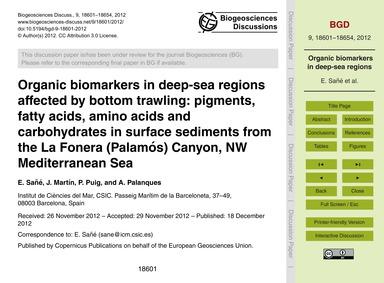 Organic Biomarkers in Deep-sea Regions A... by Sañé, E.