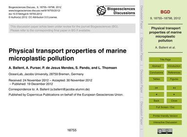 Physical Transport Properties of Marine ... by Ballent, A.