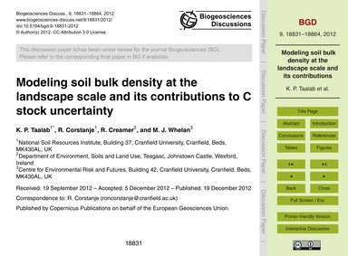 Modeling Soil Bulk Density at the Landsc... by Taalab, K. P.