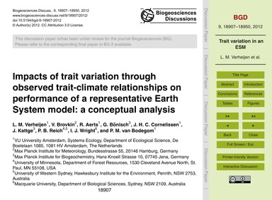 Impacts of Trait Variation Through Obser... by Verheijen, L. M.