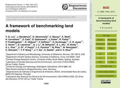 A Framework of Benchmarking Land Models ... by Luo, Y. Q.