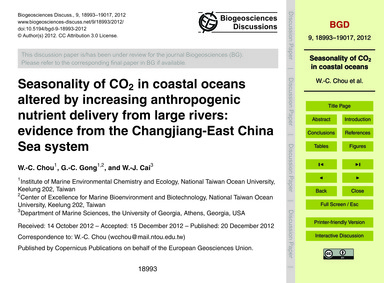 Seasonality of Co2 in Coastal Oceans Alt... by Chou, W.-c.