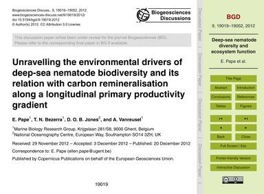 Unravelling the Environmental Drivers of... by Pape, E.