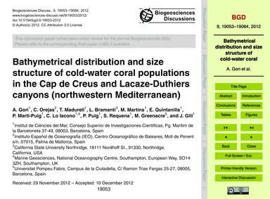 Bathymetrical Distribution and Size Stru... by Gori, A.