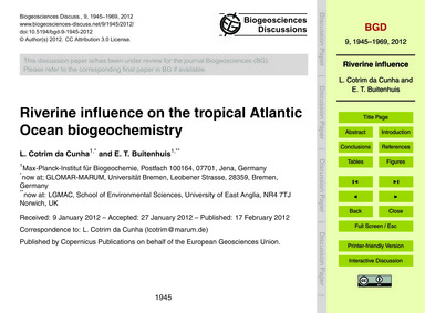 Riverine Influence on the Tropical Atlan... by Cotrim Da Cunha, L.