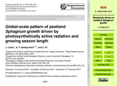 Global-scale Pattern of Peatland Sphagnu... by Loisel, J.