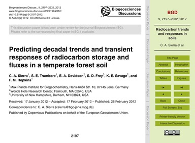 Predicting Decadal Trends and Transient ... by Sierra, C. A.