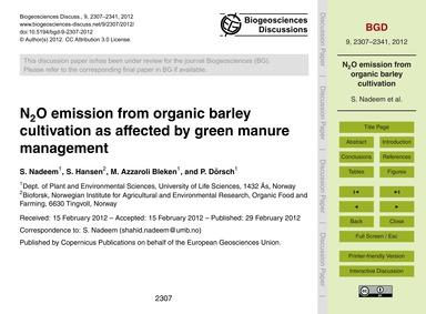 N2O Emission from Organic Barley Cultiva... by Nadeem, S.