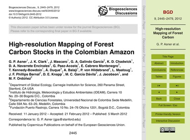 High-resolution Mapping of Forest Carbon... by Asner, G. P.