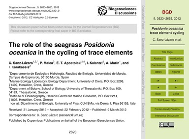 The Role of the Seagrass Posidonia Ocean... by Sanz-lázaro, C.