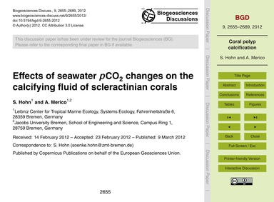 Effects of Seawater PCo2 Changes on the ... by Hohn, S.