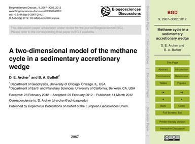 A Two-dimensional Model of the Methane C... by Archer, D. E.