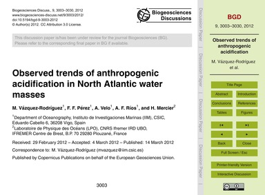 Observed Trends of Anthropogenic Acidifi... by Vázquez-rodríguez, M.