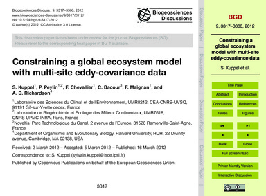 Constraining a Global Ecosystem Model wi... by Kuppel, S.