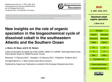 New Insights on the Role of Organic Spec... by Bown, J.