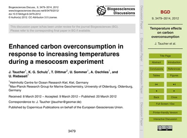 Enhanced Carbon Overconsumption in Respo... by Taucher, J.
