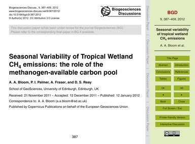Seasonal Variability of Tropical Wetland... by Bloom, A. A.