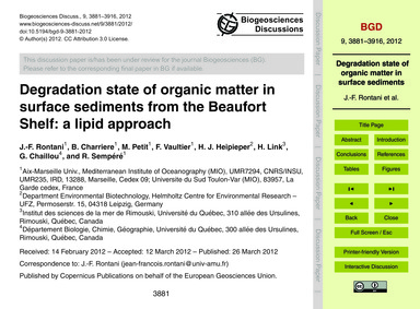 Degradation State of Organic Matter in S... by Rontani, J.-f.