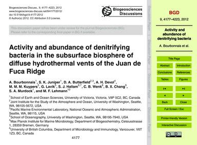 Activity and Abundance of Denitrifying B... by Bourbonnais, A.