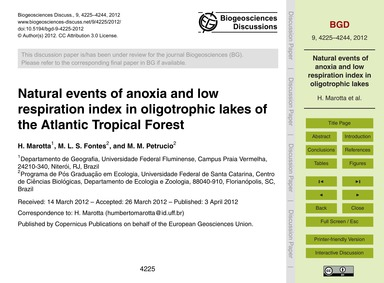 Natural Events of Anoxia and Low Respira... by Marotta, H.