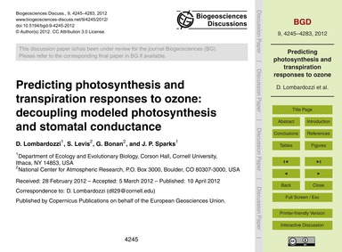 Predicting Photosynthesis and Transpirat... by Lombardozzi, D.